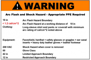 Arc Flash and Shock Hazard Label